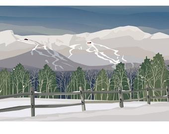Winter Day: Mt. Mansfield - Stowe, Vermont 11x17 Print