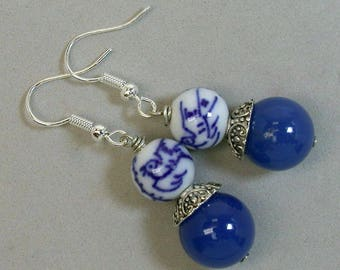 Vintage Chinese Bird Bead Porcelain White Blue Dangle Drop Earrings,Vintage Cobalt Blue Chalcedony Beads,Silver Bead Caps, Silver Ear Wires
