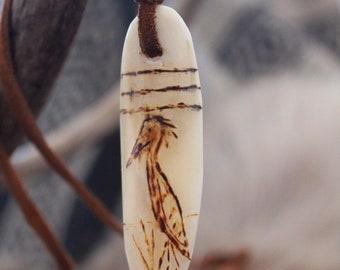 Blue Heron bone scrimshaw necklace