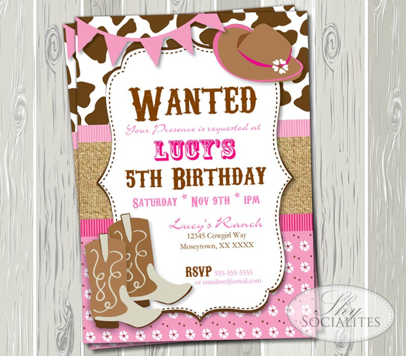 Pink Cowgirl Party Invitation Birthday Or Baby Shower