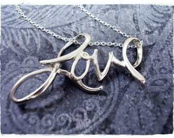 LOVE Cursive Script Necklace - Sterling Silver Cursive Love Charm on a Delicate Sterling Silver Cable Chain or Charm Only