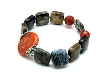 Natural Vintage Coral and Pietersite  Luxe  Boho Beaded Bracelet   Boutique Wearable Art, Two in One, for Her Under 400