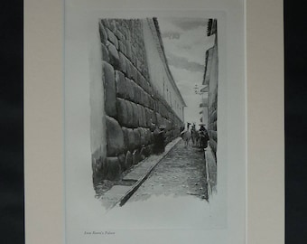 1913 Antique Mounted Peruvian Print of Inca Roca Street by the Hatunrumiyoc Palace in Cusco