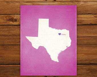 Customized Texas State Art Print, State Map, Heart, Silhouette, Aged-Look Personalized Print