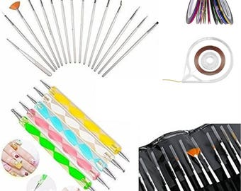 40pc Pro Nail Art Manicure Pedicure Beauty Painting Polish Brush and dotting Pen Tool Set For Natural, False, Acrylic and Gel Nails