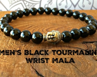 AA Men's Black Tourmaline Bracelet, Yoga Bracelet Healing Crystals, Gift for Him, Wrist Mala Beads Protection + Emotional Health + Grounding
