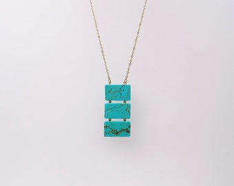 Long necklace, Long Turquoise necklace, Geometric necklace, Long Gemstone necklace, long statement necklace