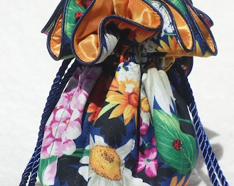 Butterfly Garden Jewelry Pouch, Travel Jewelry  Bag, Organizer in blue and gold