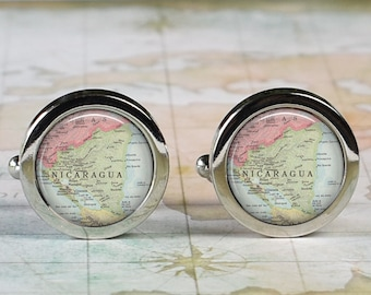 Nicaragua cuff links, Nicaragua map wedding gift anniversary gift for groom map cufflinks groomsmen gift for best man Father's Day