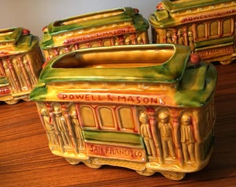 """Vintage SNCO Imports San Francisco """"514"""" trolley planter or organizer made in Japan - four may be available"""