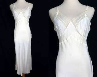 1950s Slip Nightgown Peignoir Negligee Bias Cut Hourglass Fitted White Lace Seamprufe Small 50s