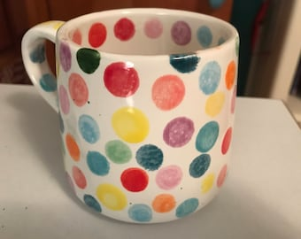 Cheerful and Bright Rainbow colored Ceramic dot mug,  hand painted