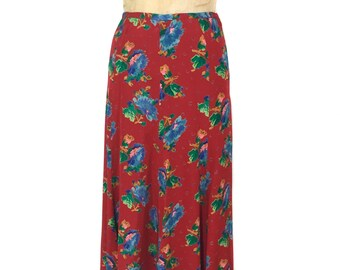 vintage 1970's BETSEY JOHNSON Alley Cat floral skirt / rayon / bold bright print / maxi skirt / women's vintage skirt / tag size 9/10