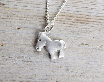 Cute Horse Necklace in sterling silver, Horse Riding gift, Rodeo, Horse Love, Horseback, Teen Jewelry, Cowgirl pendant