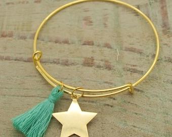 """bracelet Kit """"Star"""" Golden tassels Green"""
