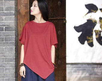 Women cotton and linen T-shirt – Irregular asymmetrical short sleeve thin loose t-shirt