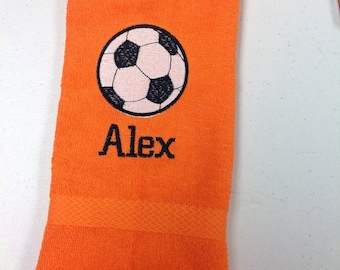Personalized sport towel with  one name and one sport design on each, terry cloth, 16 x 26