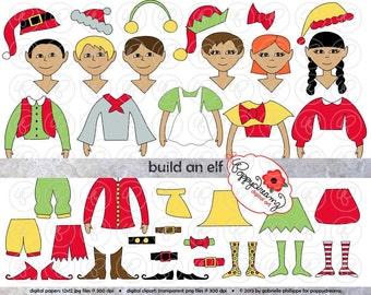 Build An Elf Christmas Clipart Set (300 dpi) Elf Hat Elf Shoes Build It DIY Christmas Games Kids Clip Art