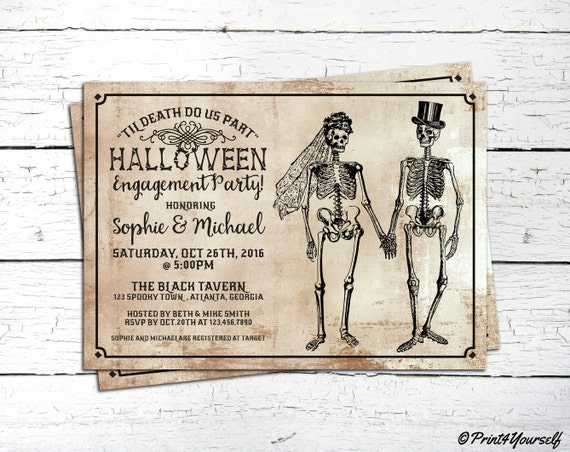 Halloween Engagement Invite Personalized Til Death Do Us