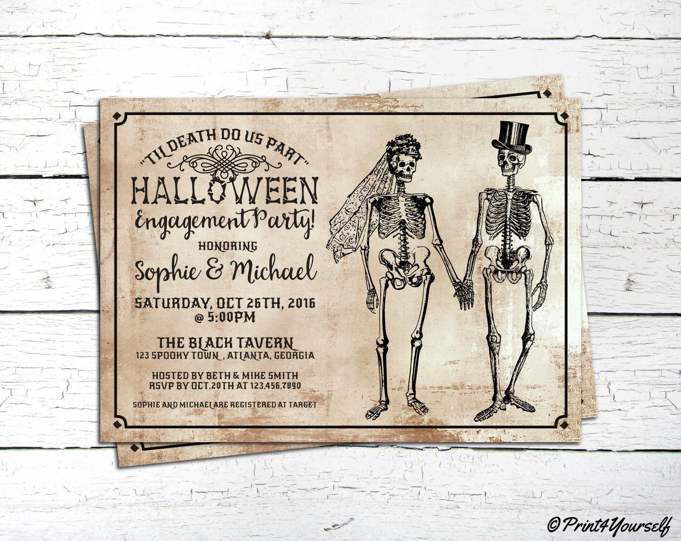 Halloween Engagement Invite // Personalized Til Death Do Us