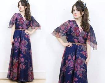 SZ XL/US 12 Vintage 70s boho maxi dress, floral maxi dress, floaty dress, boho