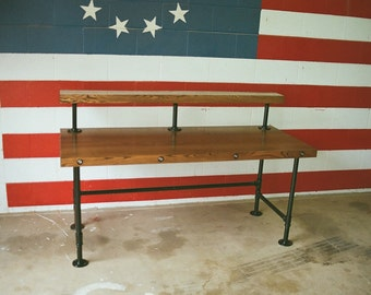 Industrial Steampunk Two Tiered Desk With Pipe Legs
