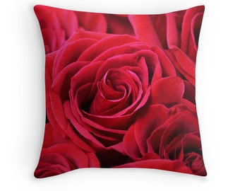 Rose Decor, Gift for Mom, Rose Throw Pillow, Red Rose Cushion, Rose Pillow, Flower Cushion, Flower Pillow, Red Cushions, Red Throw Pillows
