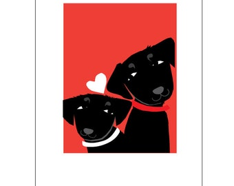 black labs Valentine greeting card collection
