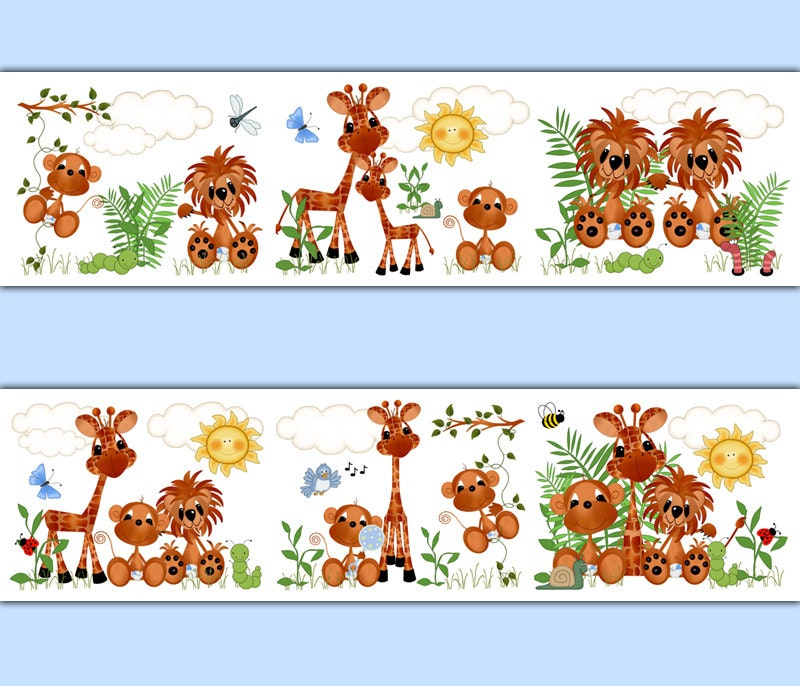 Baby Room Wallpaper Borders SAFARI NURSERY ...