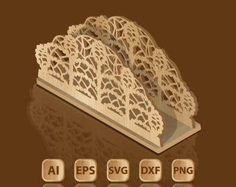 Template for laser cutting napkin holder