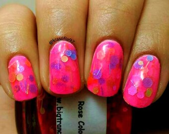 Free U.S. Shipping - Rose Colored Glasses: Custom-Blended NEON Glitter Nail Polish/Lacquer-NEW