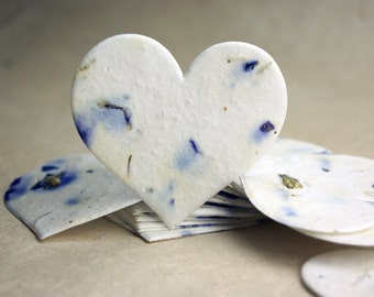 """Large Purple Seed Paper Hearts 2.85""""w x 2.5""""h Wildflower Blue Larkspur Petals for Weddings or Events"""