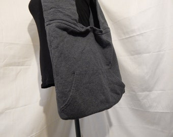Large Purse made from a Dark Gray Hoodie, 100% upcycled