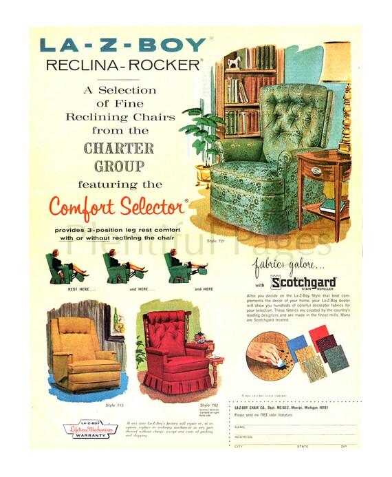 1966 la-Z-Boy Reclina-Rocker anuncio Vintage arte decoración