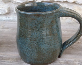 Pottery mug with blue/green/brown earthy glaze