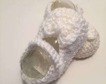 Crochet Baby Booties, Baby Shoes, Maryjanes, 0-3 Months