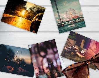 5X7 Photo Postcard Set, Summer Night, set of 5, Summer Vibes, Skateboard, Pier, Fireworks, Stationery gift set, Filter, Summertime