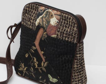 SHOULDER BAG by Elizabeth Z Mow  Fabric and Leather Silhouette of Spaniella with a BUTTERFLY