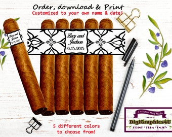 Cigar Bands, Cigar Labels for Wedding or Any Celebration Party Favor - Printable Digital File - Personalized for You