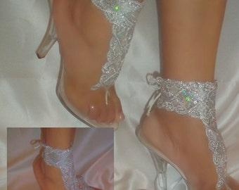 Barefoot Sandals, White Silver Sequin Bottomless Beach Bride Sandals, Wedding Sandals, Ankle Bracelets, Sequin Bridal Barefoot Sandals