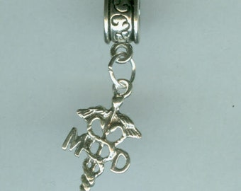 Sterling MD Cadeceus Bead Charm for  All Name Brand Add a Bead Charm Bracelets