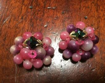 Hong Kong Clip Ons Pink and Purple Bead Cluster Earrings
