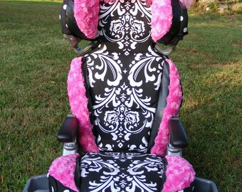 Reupholstered Car Seat Covers Damask Polka Dot Rose Cuddle Hot Pink Princess Thrown