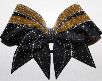 Black and Gold Swoop  Rhinestone  Cheer Bow  by FunBows !