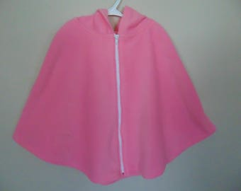 Pink poncho with hood  size XS - XL ( 3 - 16) pink fleese jacket with hood pink coat with hood pink cape zipper closure