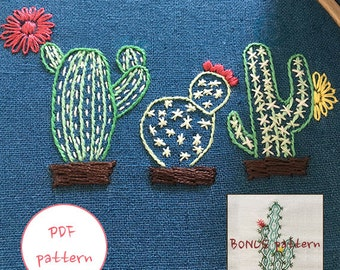 plus BONUS pattern_pdf / jpeg(jpg) /The three cacti /cactus Modern Hand embroidery pattern