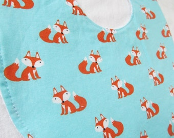 Baby Boy Bib or Baby Girl or Toddler Bib - Clever Little Fox -  neutral cotton bib with terry cloth backing