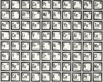 science fair periodic table grey fabric robert kaufman 1 yard 12 yard cuts grey white science fabric - Periodic Table Fabric