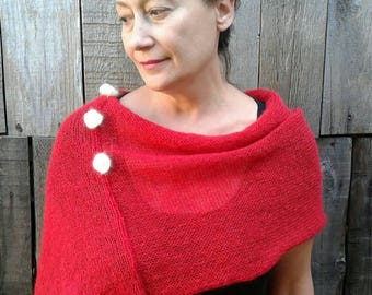 Knit poncho, Red Mohair Capelet, women's poncho, knit wrap, Knitted poncho for women, red poncho,Spring Cape