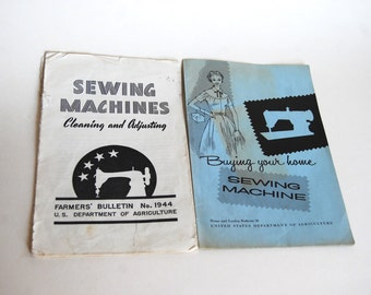 Vintage Sewing Machine Booklets, Department of Agriculture